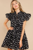 Tall Short Button Front Gathered Tiered Floral Print Dress With Ruffles
