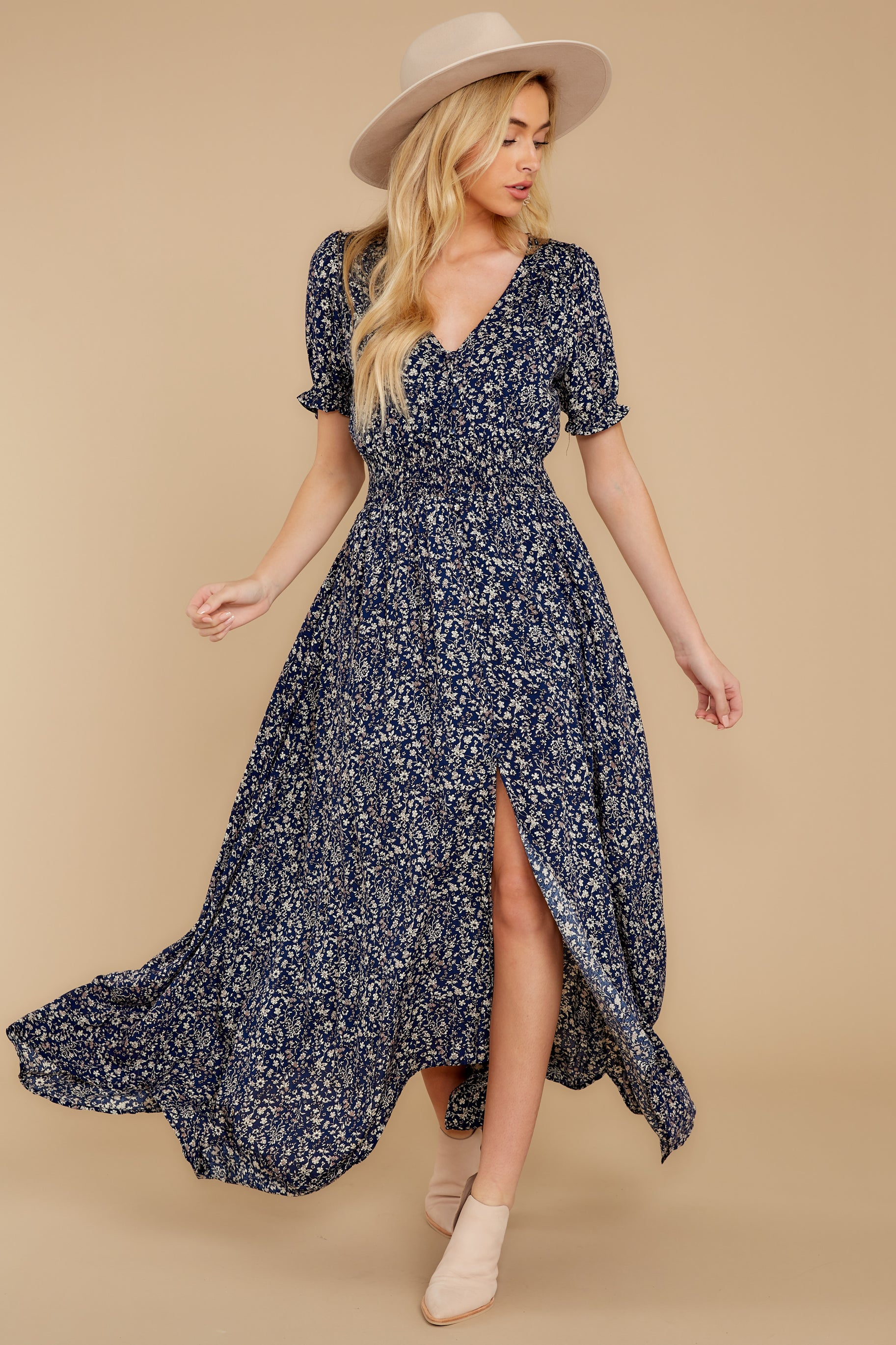 2 Cue From The Past Navy Print Maxi Dress at reddressboutique.com