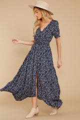 3 Cue From The Past Navy Print Maxi Dress at reddressboutique.com