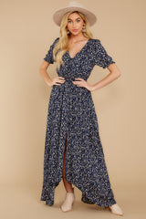 4 Cue From The Past Navy Print Maxi Dress at reddressboutique.com
