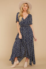 5 Cue From The Past Navy Print Maxi Dress at reddressboutique.com