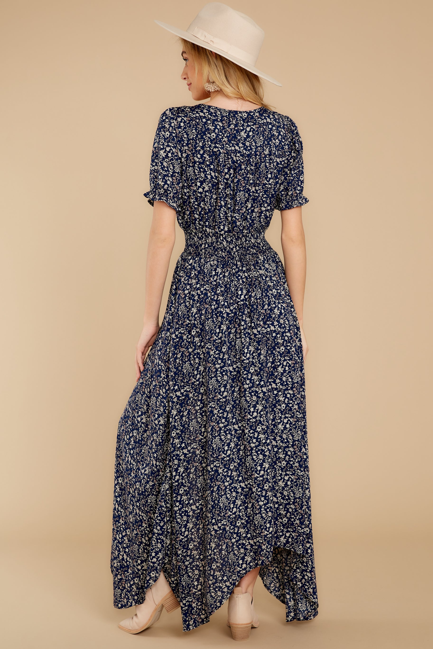 7 Cue From The Past Navy Print Maxi Dress at reddressboutique.com