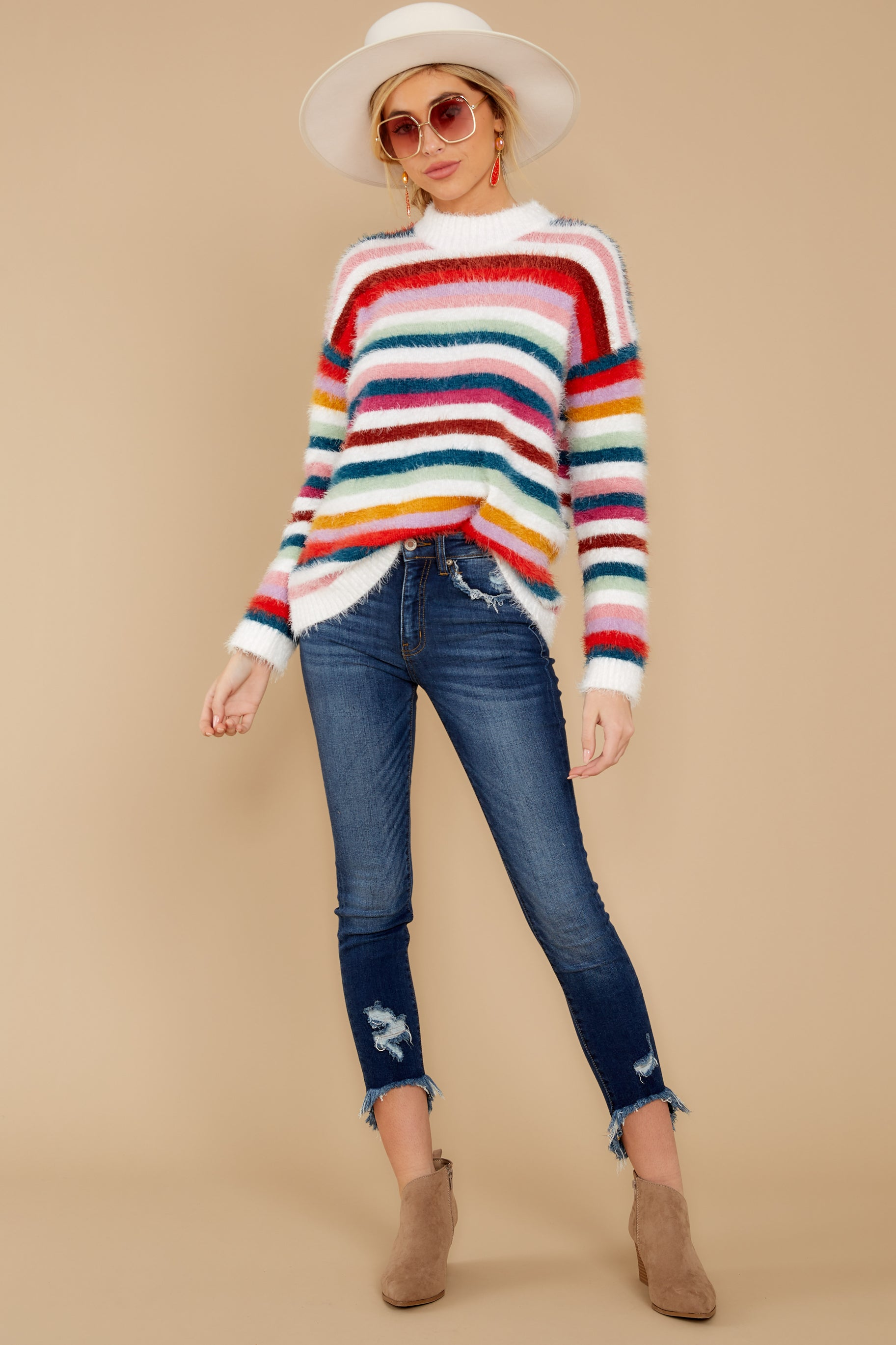 3 Debby Multi Stripe Sweater at reddressboutique.com