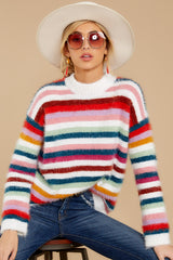 5 Debby Multi Stripe Sweater at reddressboutique.com