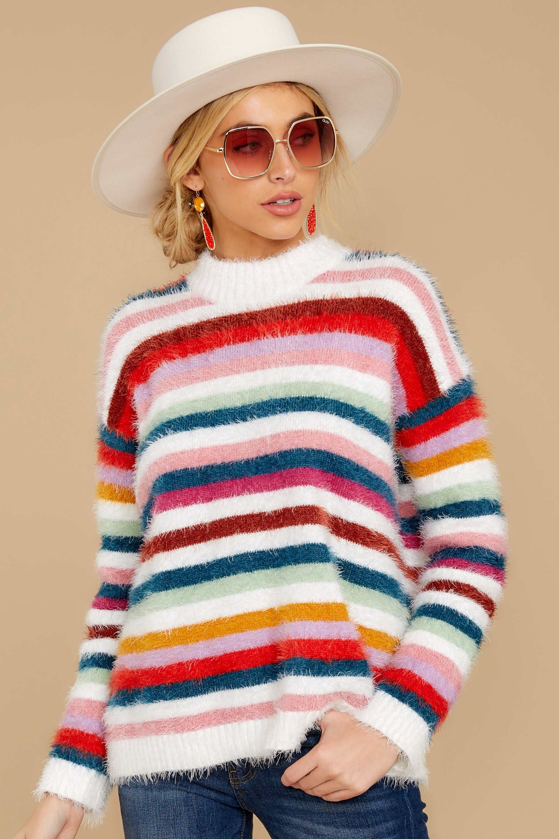 7 Debby Multi Stripe Sweater at reddressboutique.com