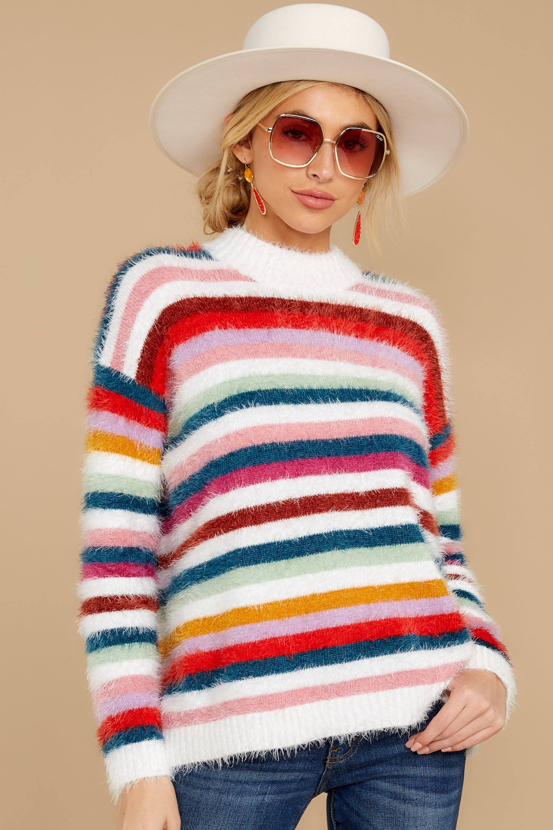8 Debby Multi Stripe Sweater at reddressboutique.com