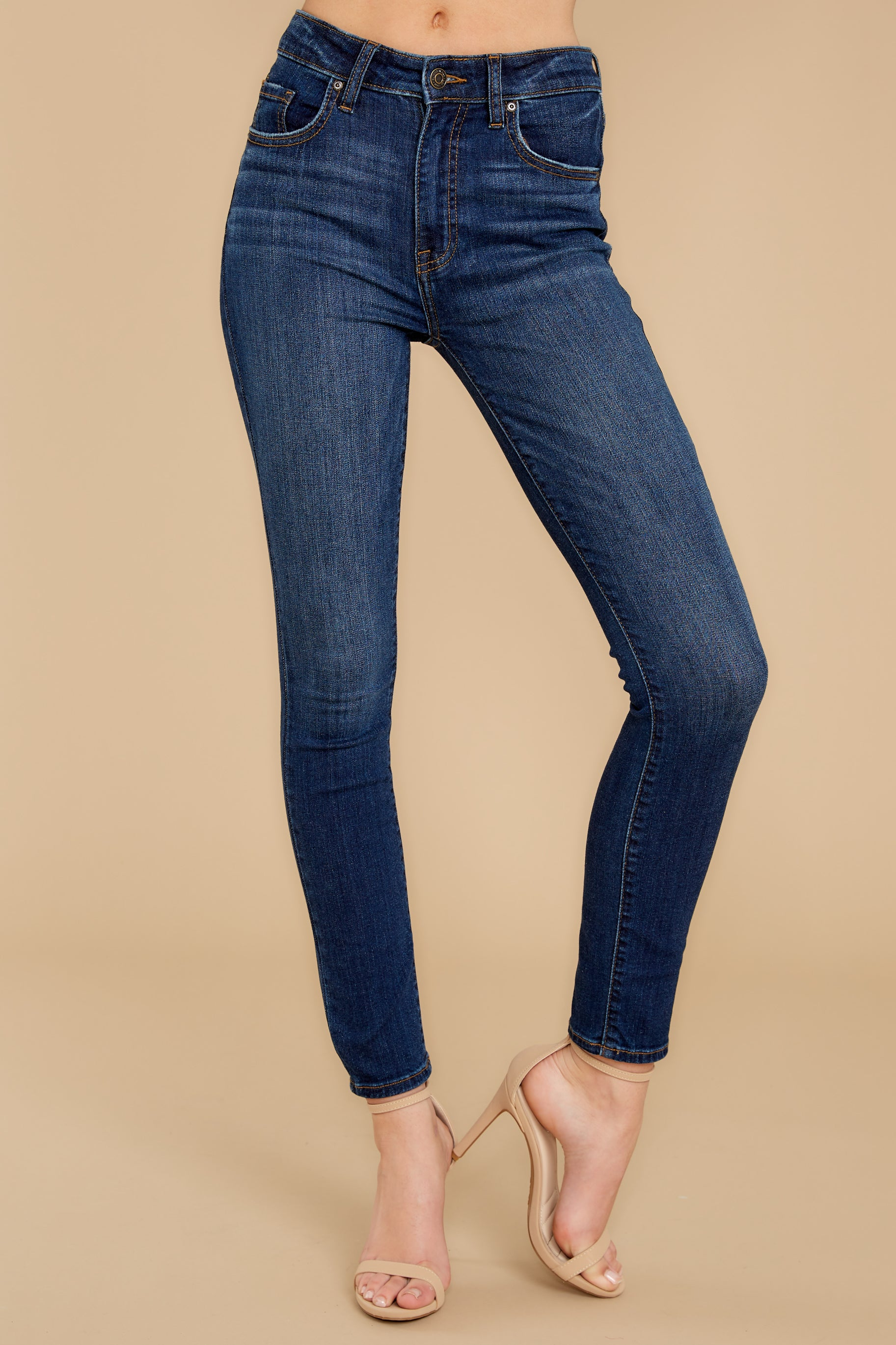 1 For The Win Dark Wash Skinny Jeans at reddressboutique.com