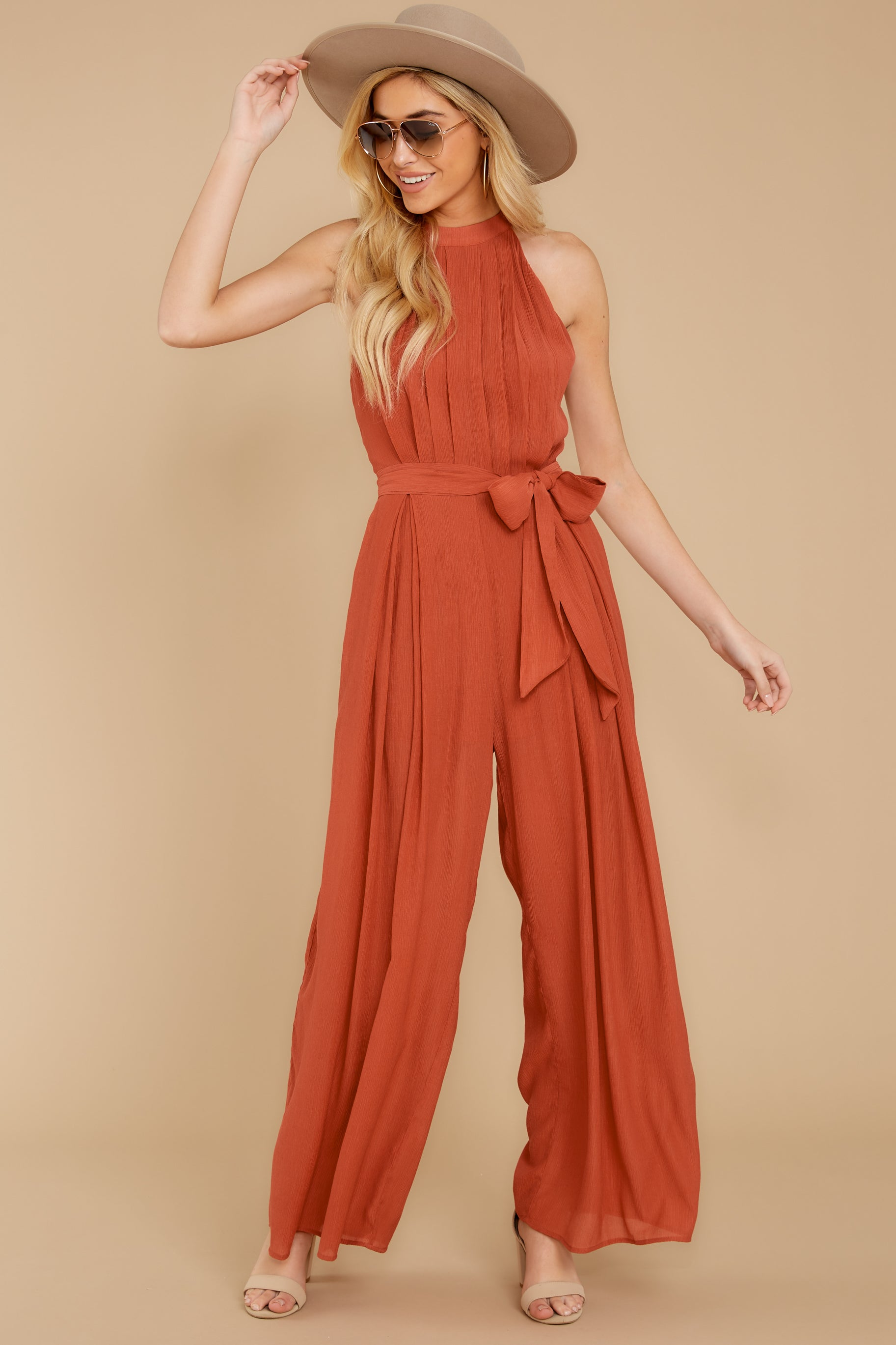 1 Impressive Poise Terracotta Jumpsuit at reddressboutique.com