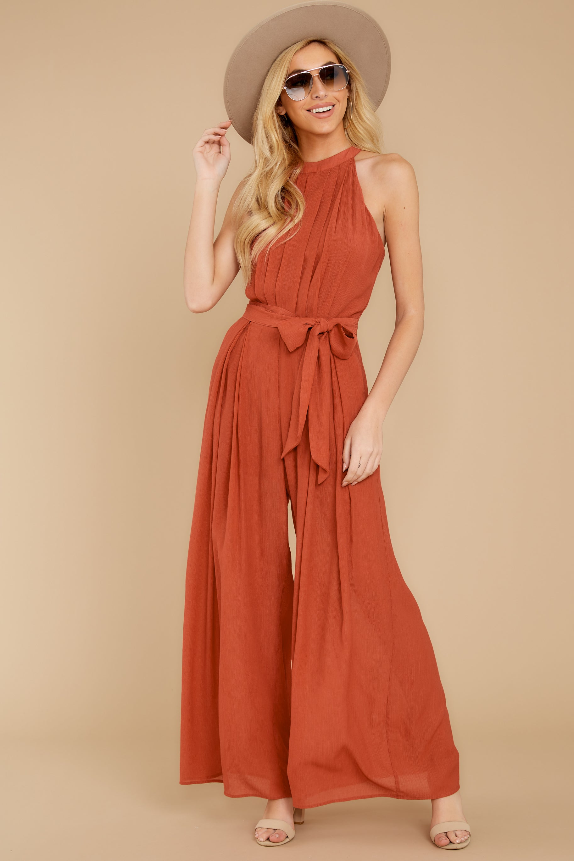 2 Impressive Poise Terracotta Jumpsuit at reddressboutique.com