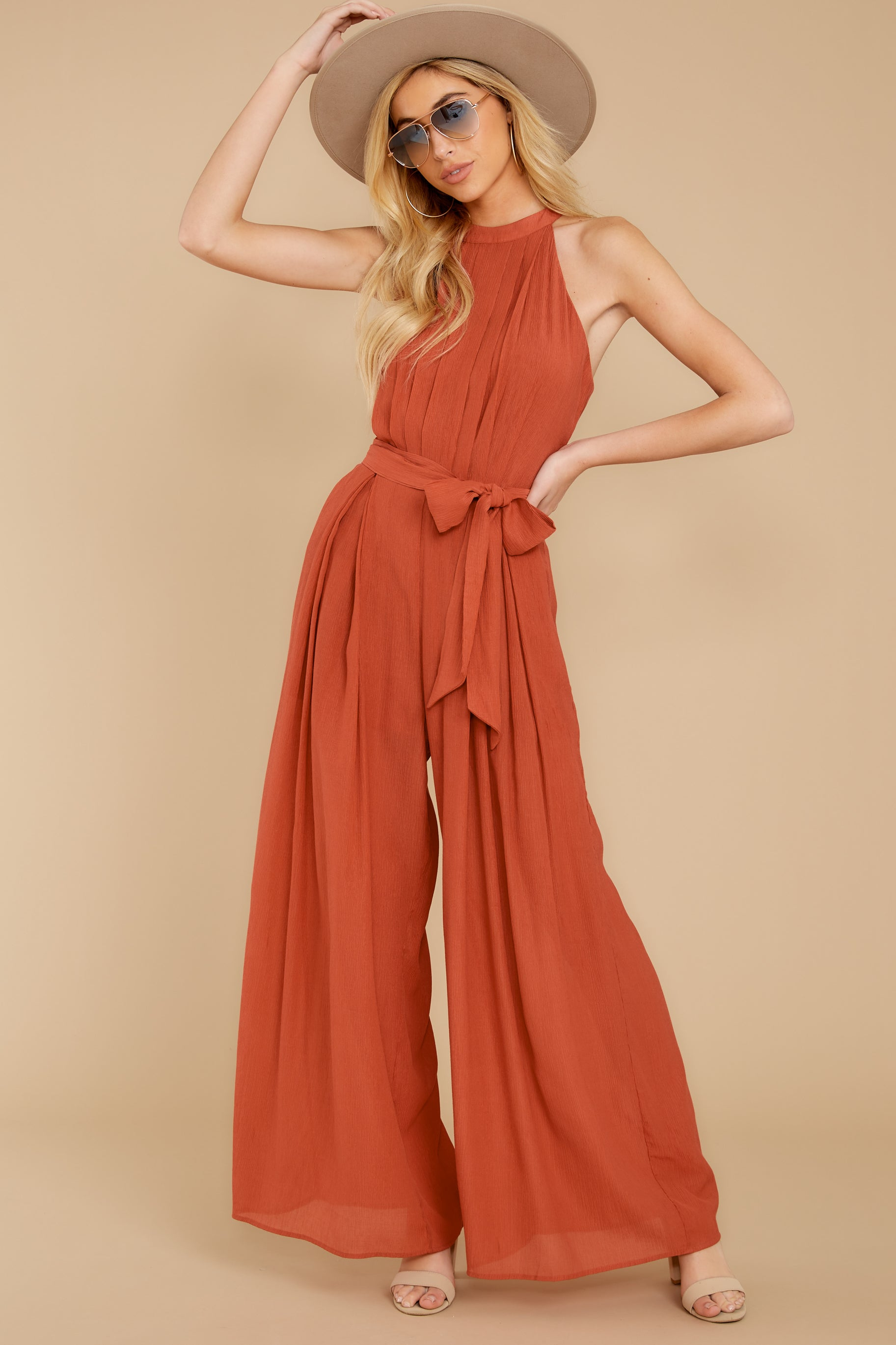 4 Impressive Poise Terracotta Jumpsuit at reddressboutique.com