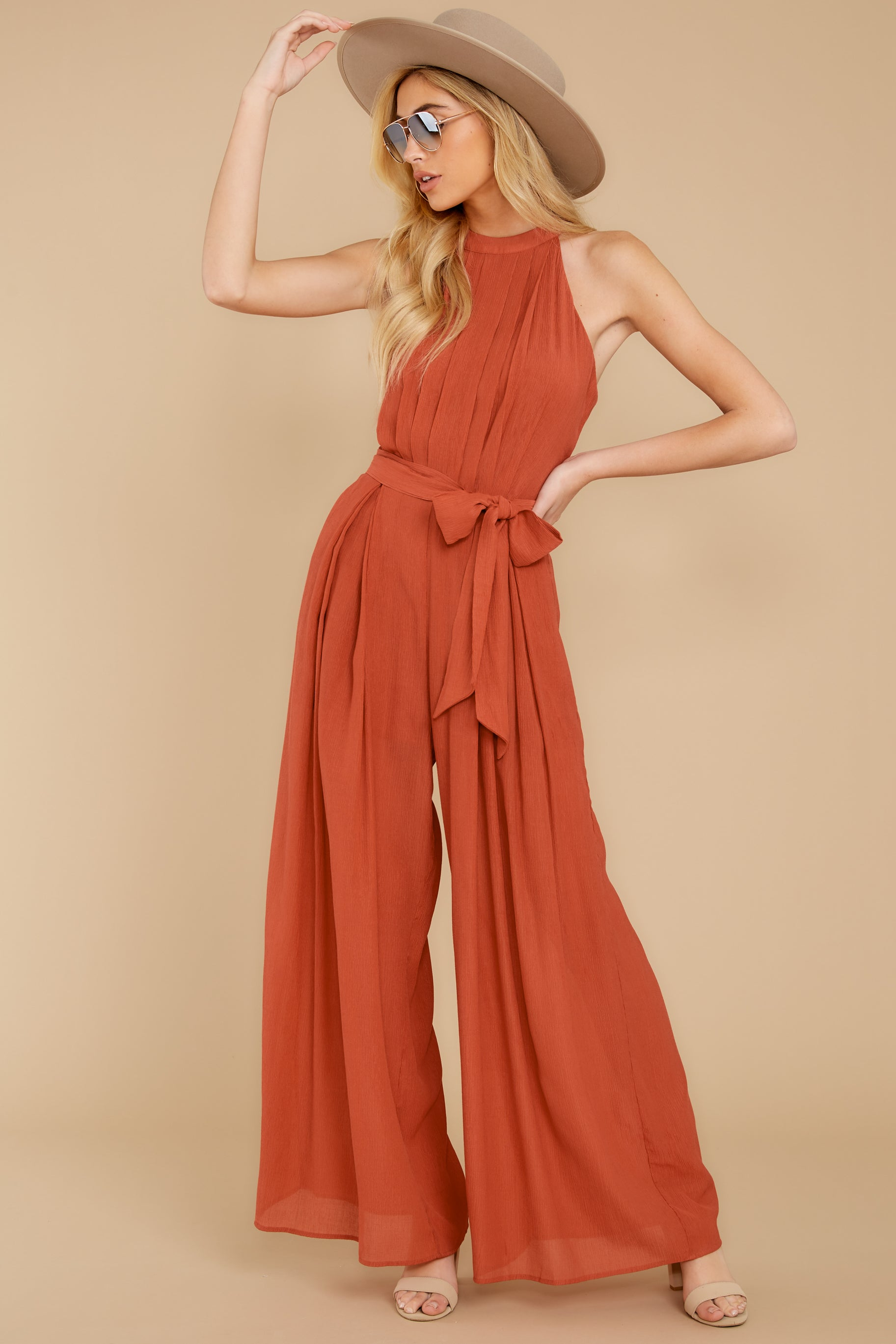 5 Impressive Poise Terracotta Jumpsuit at reddressboutique.com