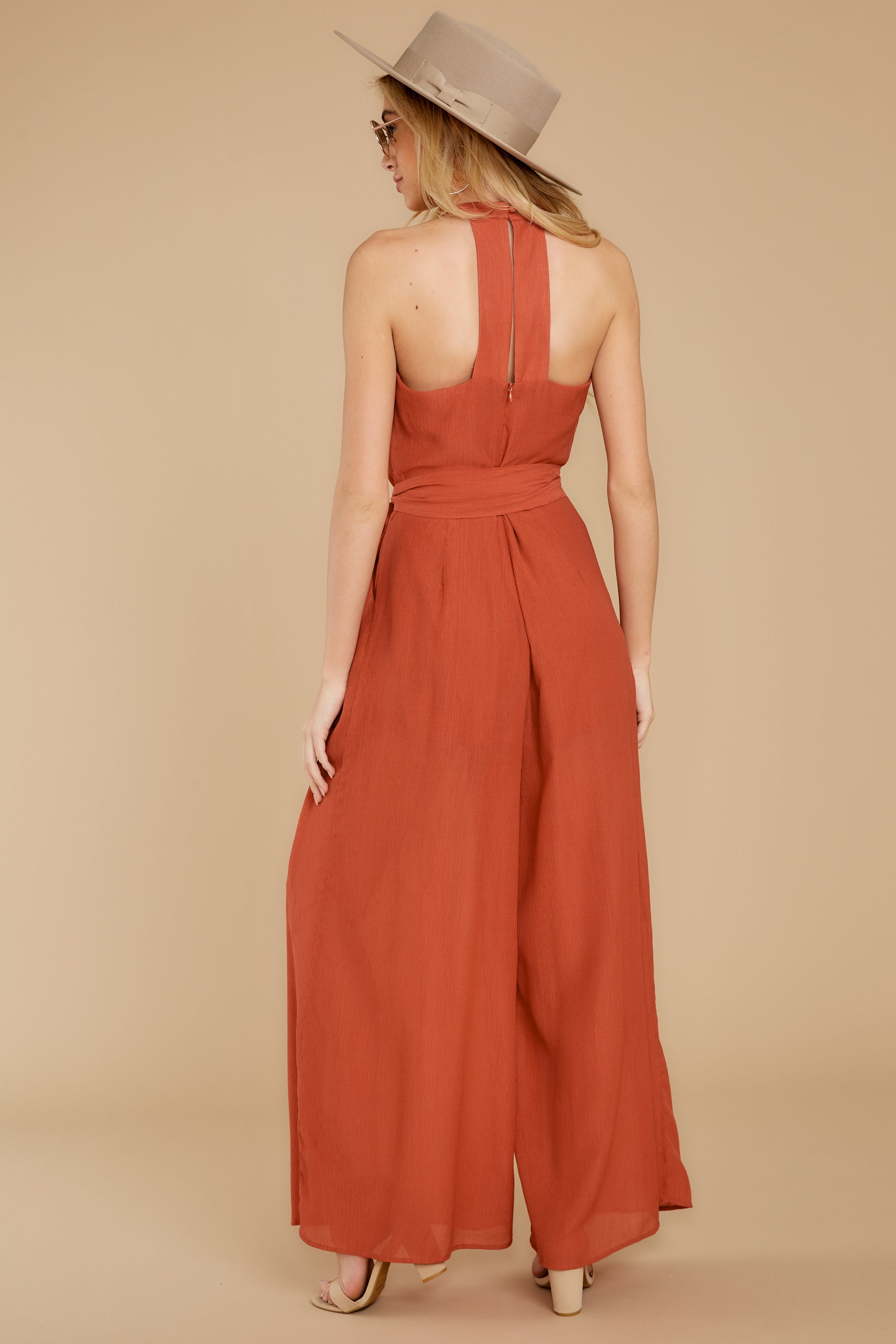 7 Impressive Poise Terracotta Jumpsuit at reddressboutique.com