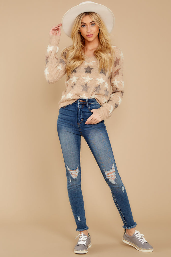 Stars In Her Eyes Taupe Sweater by Illa Illa