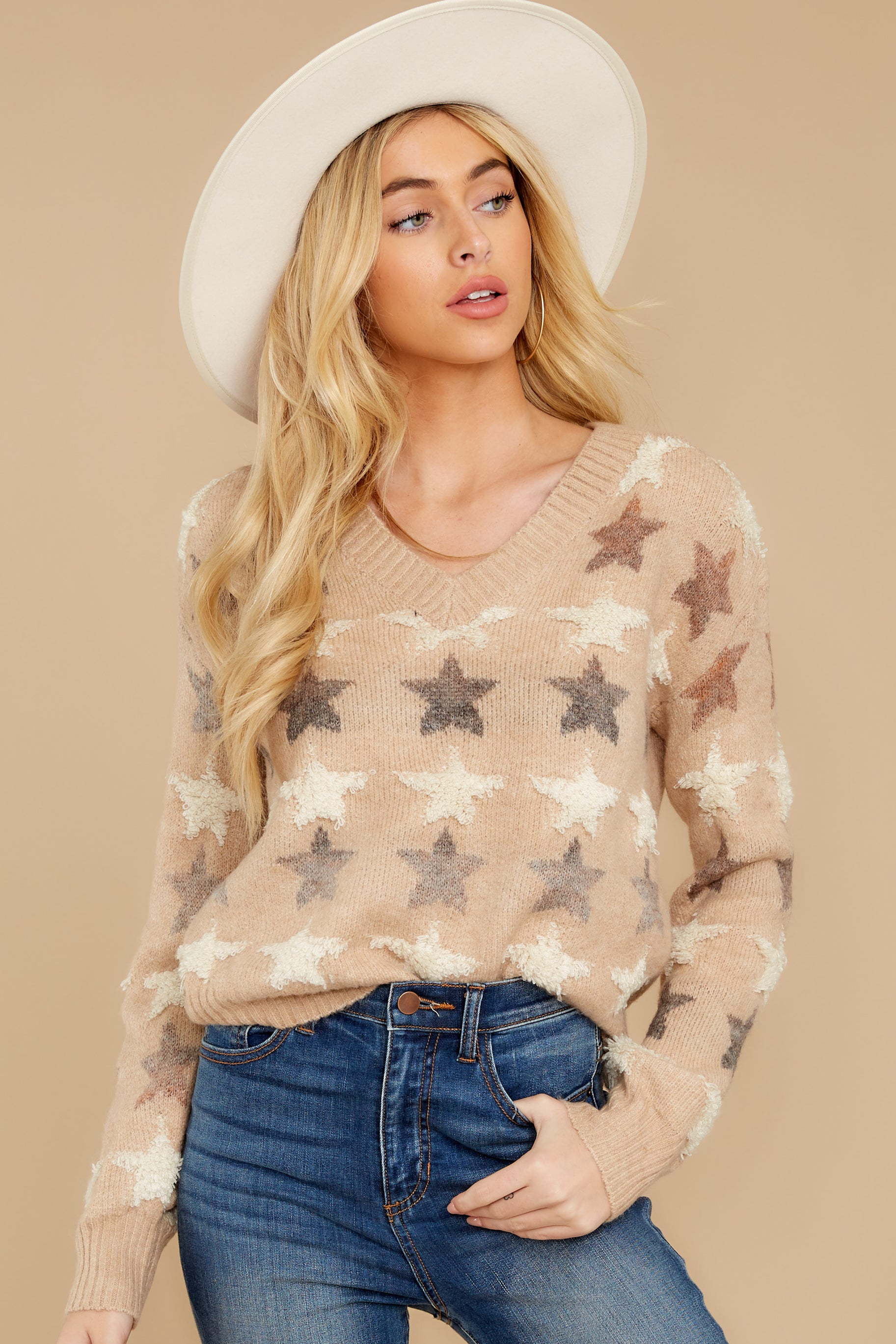 5 Stars In Her Eyes Taupe Sweater at reddressboutique.com