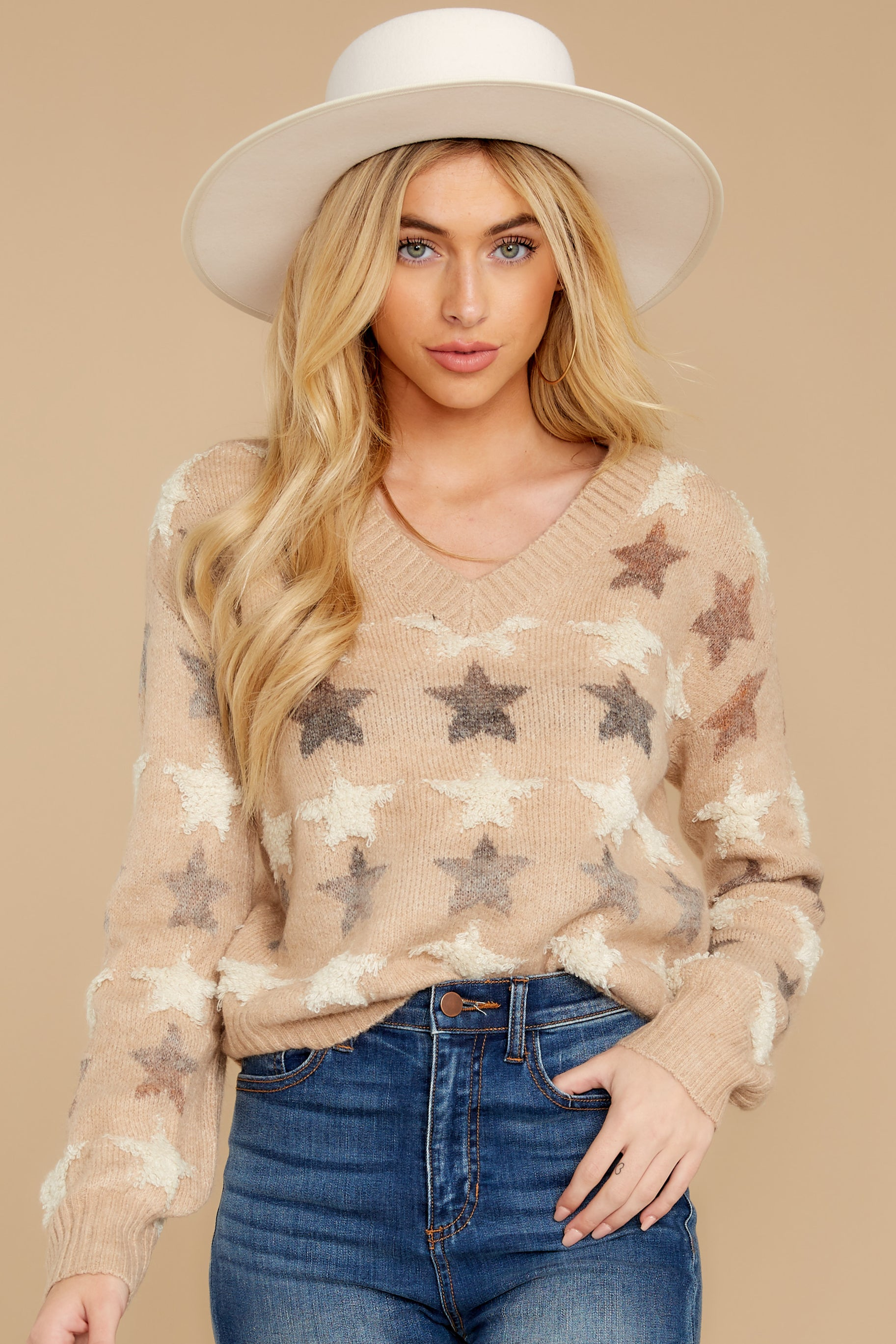 6 Stars In Her Eyes Taupe Sweater at reddressboutique.com