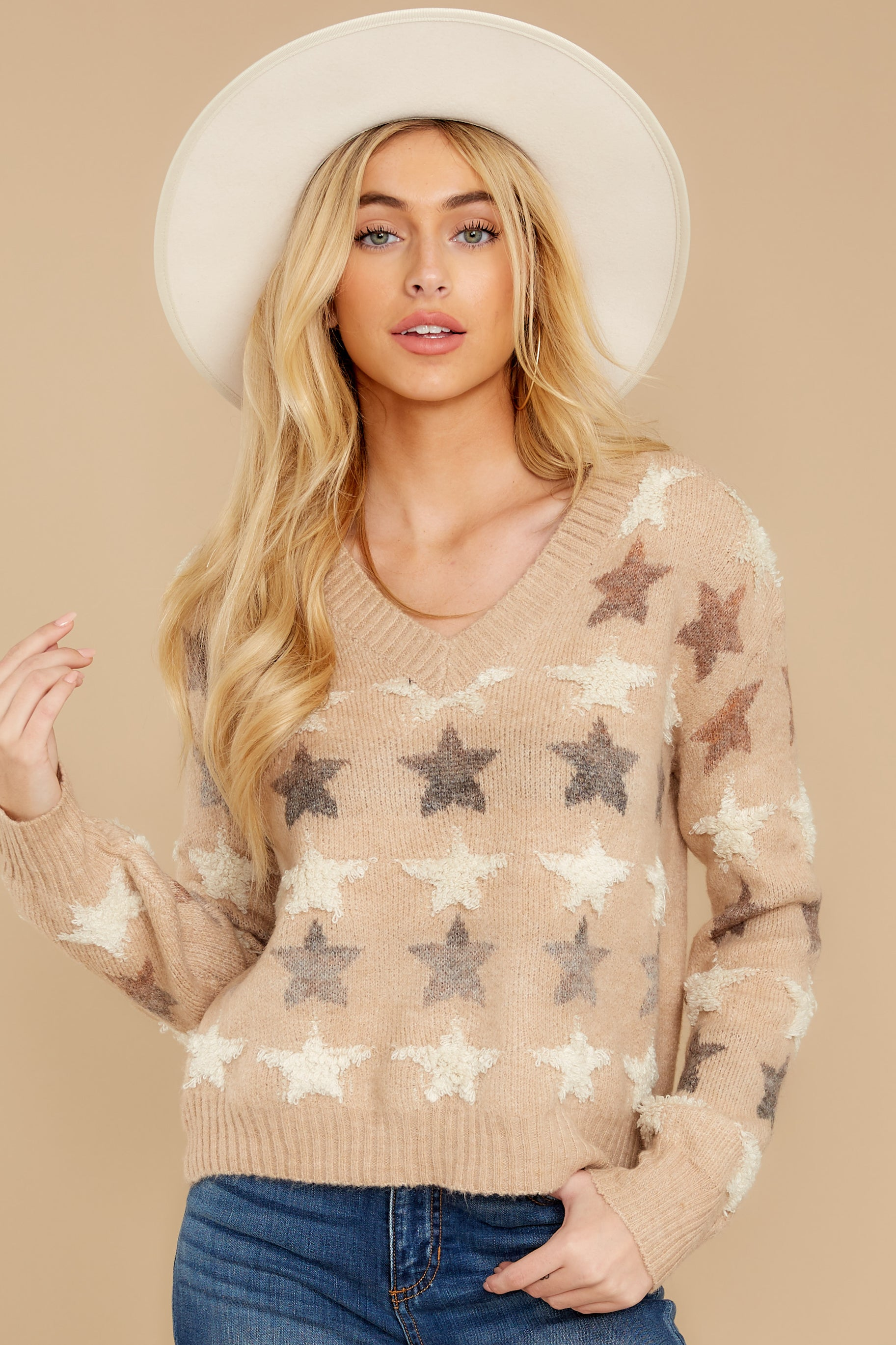 7 Stars In Her Eyes Taupe Sweater at reddressboutique.com