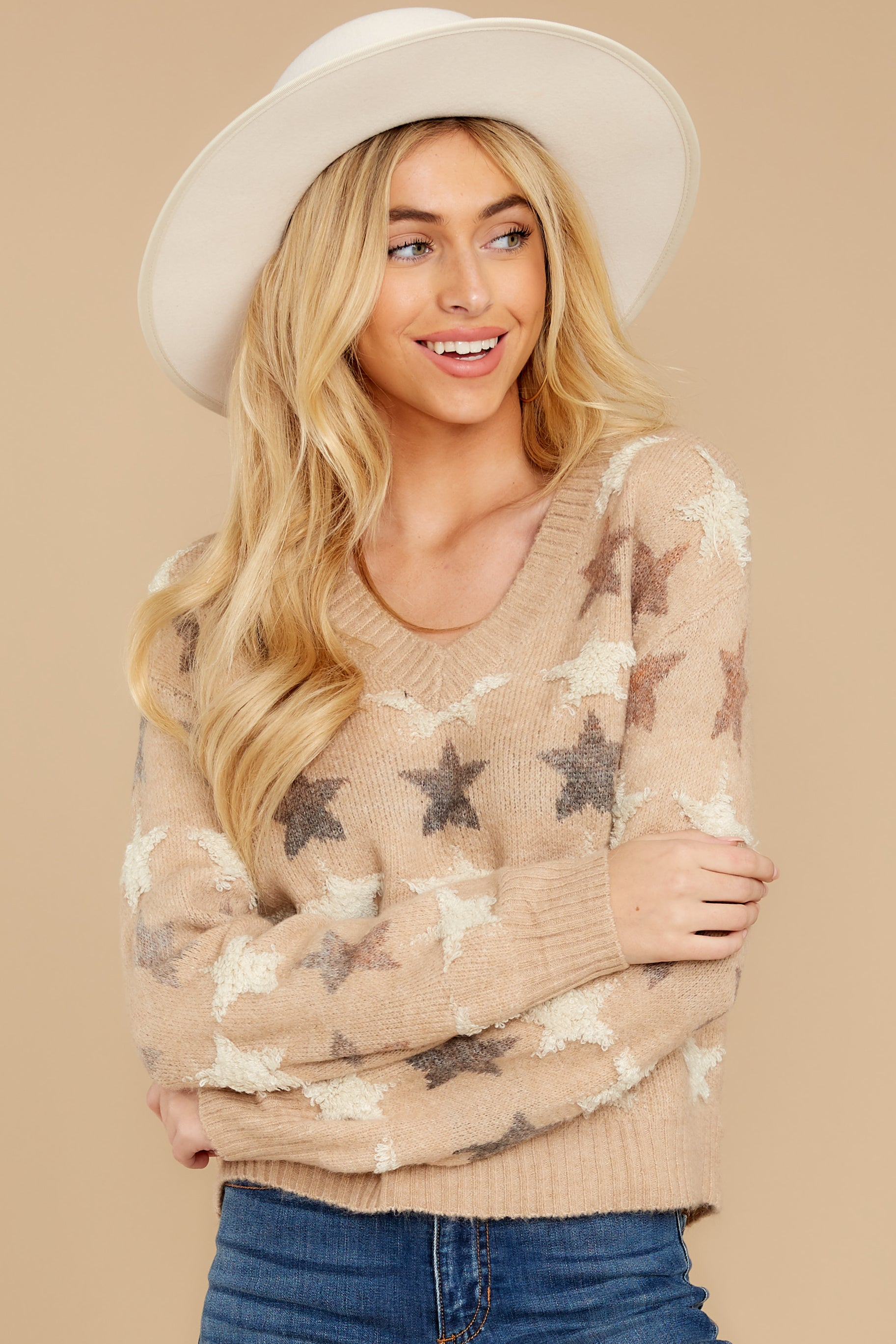8 Stars In Her Eyes Taupe Sweater at reddressboutique.com