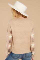 9 Stars In Her Eyes Taupe Sweater at reddressboutique.com