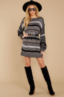 Bishop Sleeves Sweater Striped Print Round Neck Wrap Dress
