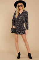 Floral Print Elasticized Waistline Dolman Sleeves Rayon Button Front Shirred Tiered Dress With Ruffles