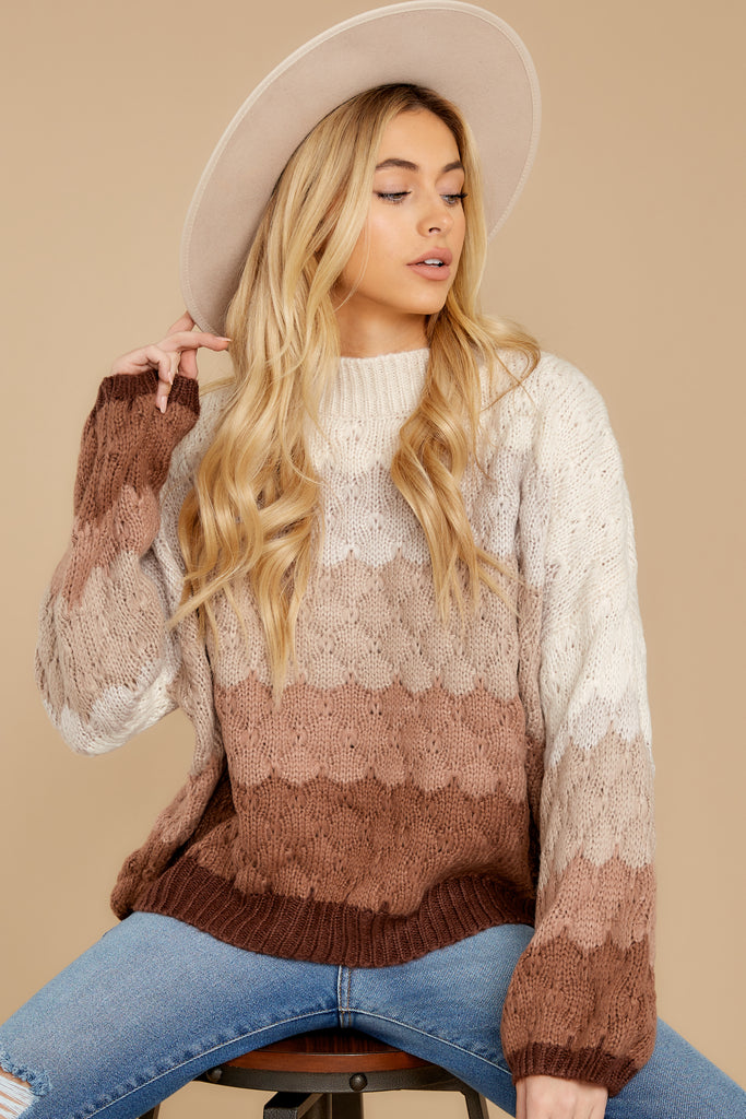 1 Drawing Conclusions Tan Multi Sweater at reddressboutique.com