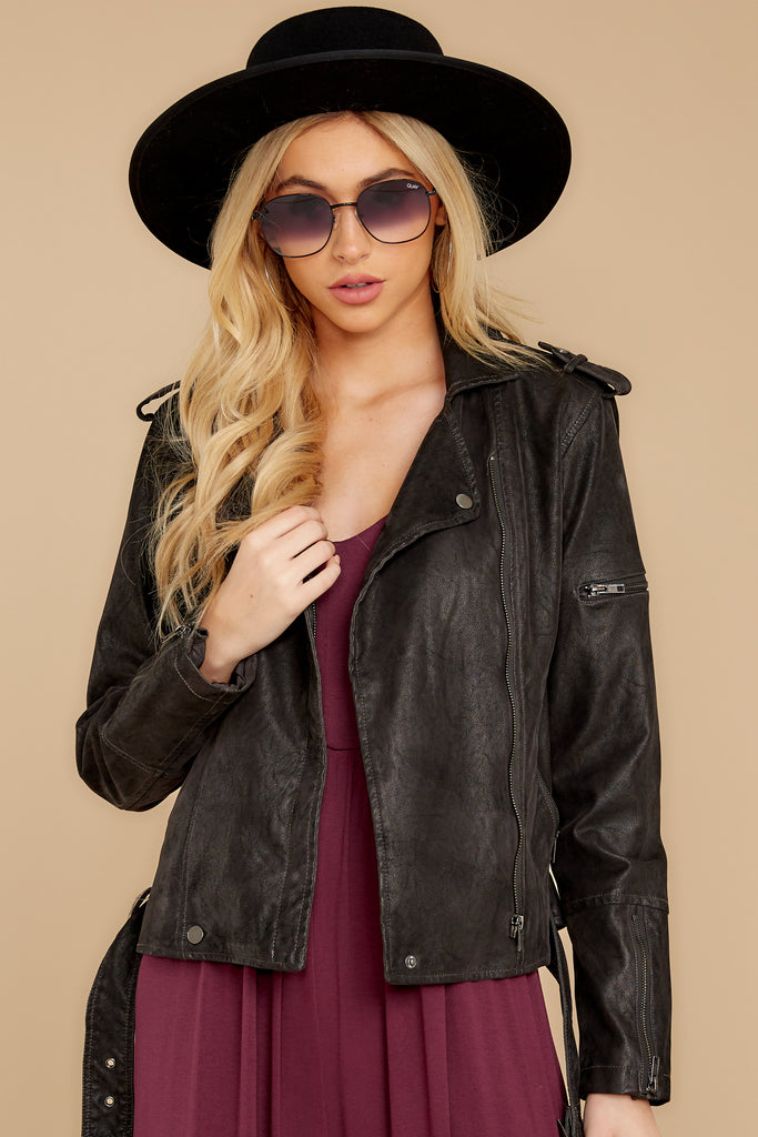 1 Throwback And Smile Black Vegan Leather Jacket at reddressboutique.com