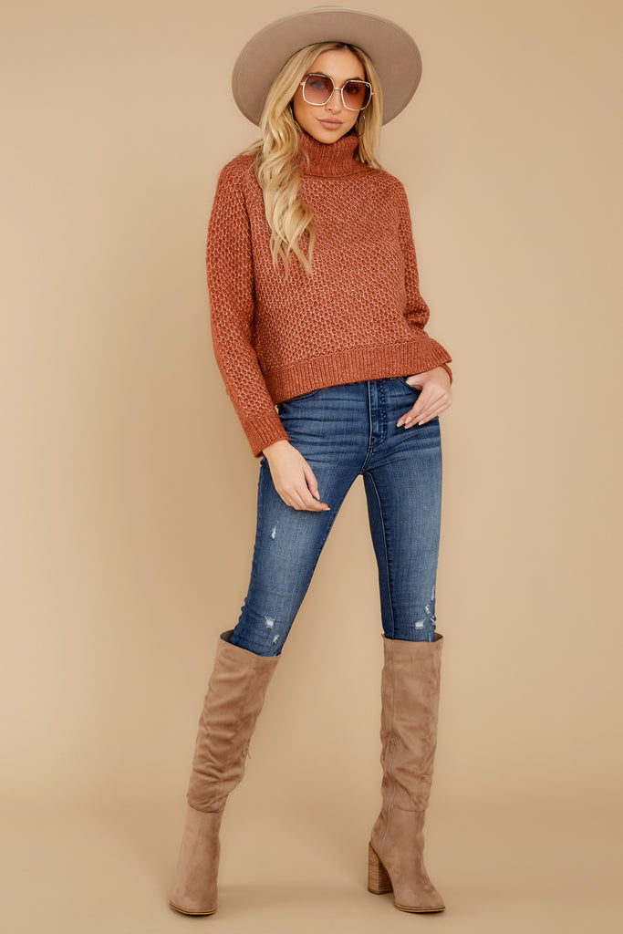 1 Wind Down Heather Camel Sweater at reddressboutique.com