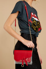 1 Everyone Will Know Red And Clear Purse at reddressboutique.com