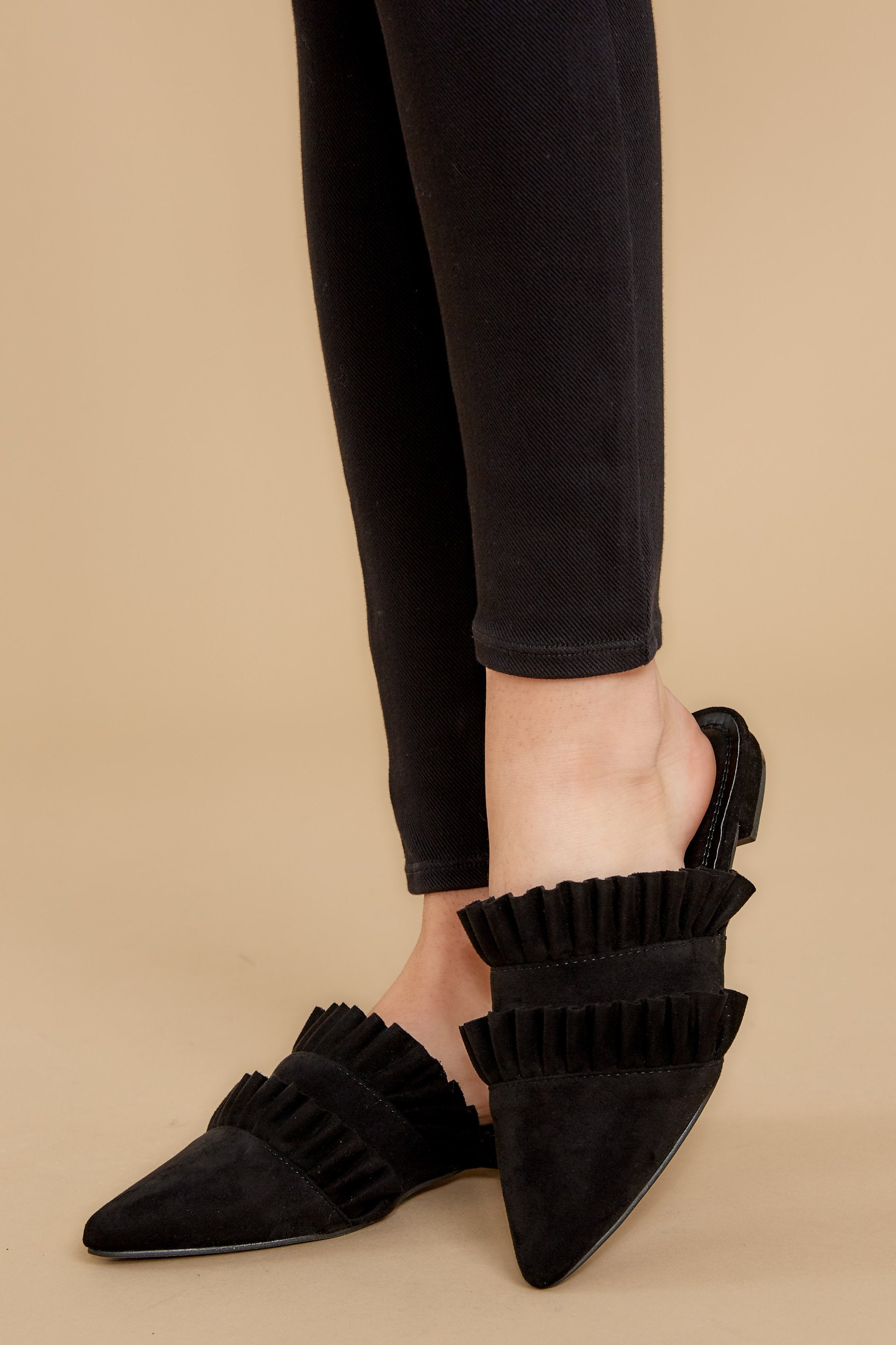 1 Make The Scene Black Mules at reddressboutique.com