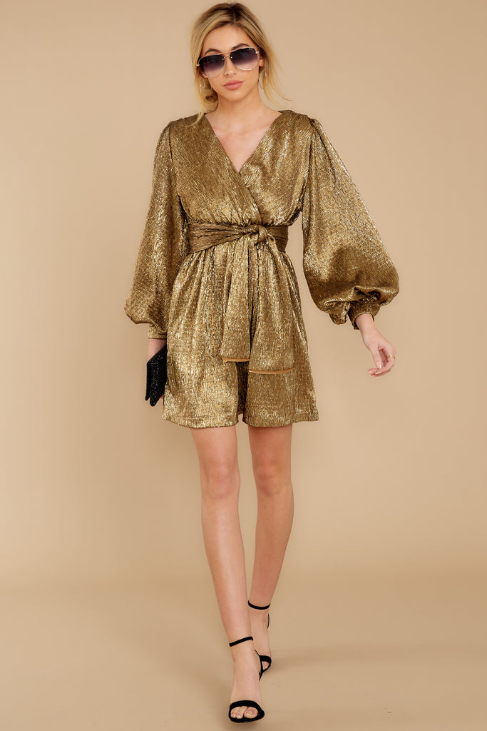 5 Champagne Wishes Gold Metallic Dress at reddressboutique.com
