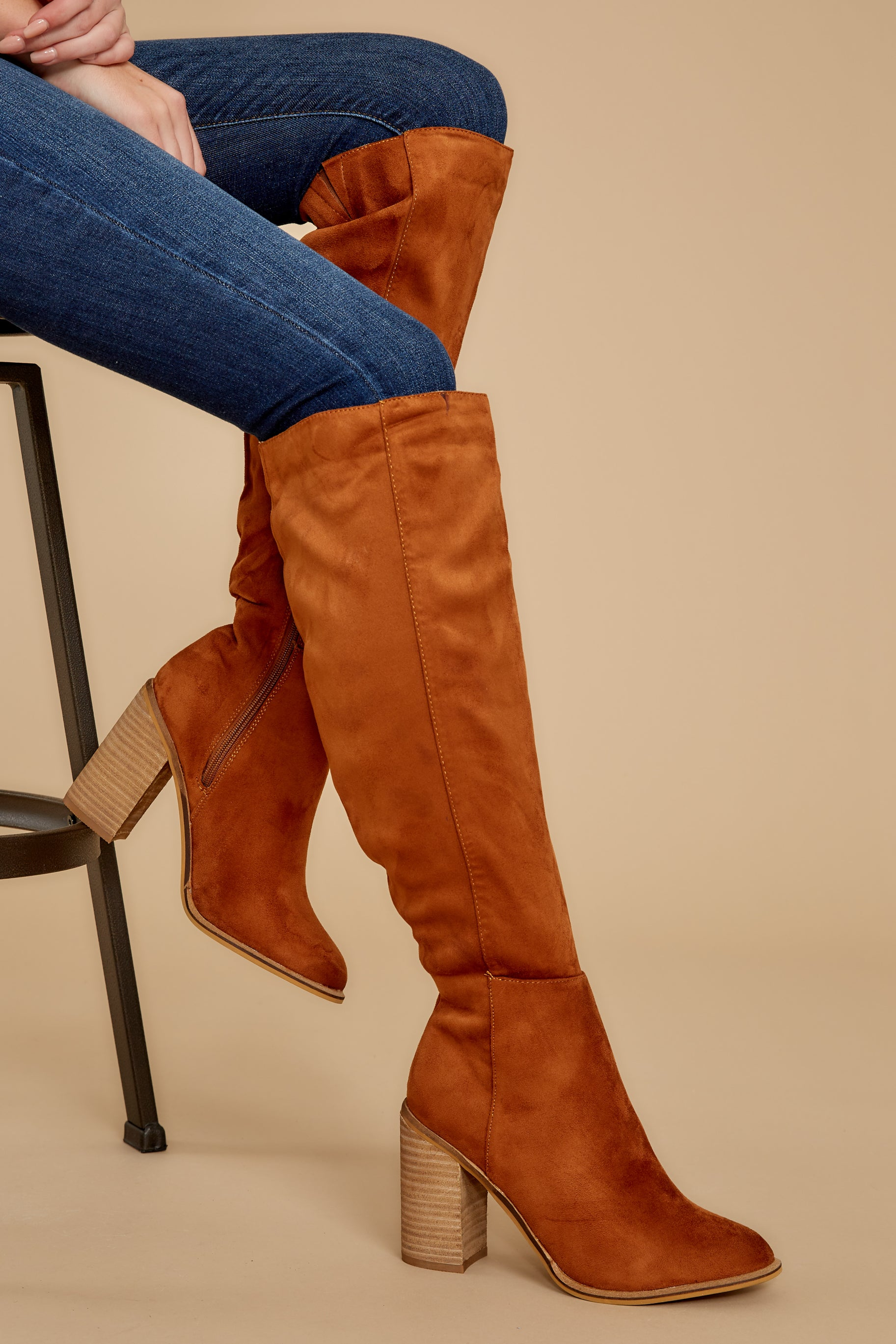 Vintage Boots, Retro Boots Standing Tall Chestnut Boots Brown $66.00 AT vintagedancer.com