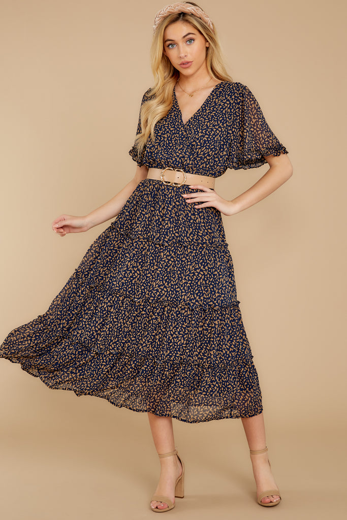 1 Cue From The Past Navy Print Maxi Dress at reddressboutique.com