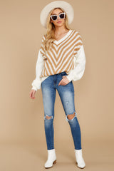 2 Will You Stay Ivory And Caramel Sweater at reddress.com