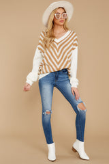 3 Will You Stay Ivory And Caramel Sweater at reddress.com