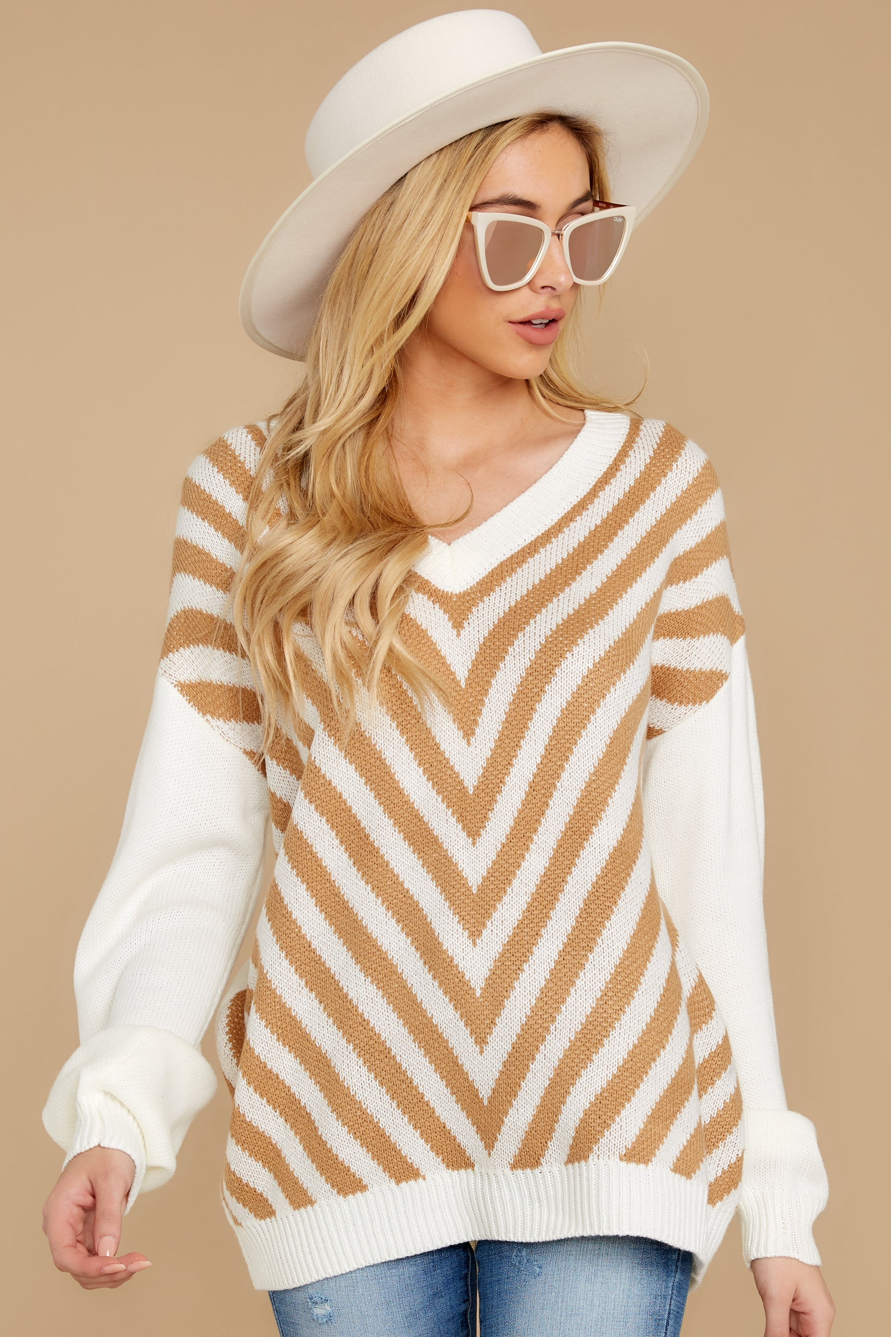 6 Will You Stay Ivory And Caramel Sweater at reddress.com