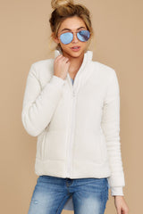 6 The Champagne Mist Corduroy Puffer Jacket at reddressboutique.com