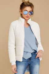 4 The Champagne Mist Corduroy Puffer Jacket at reddressboutique.com