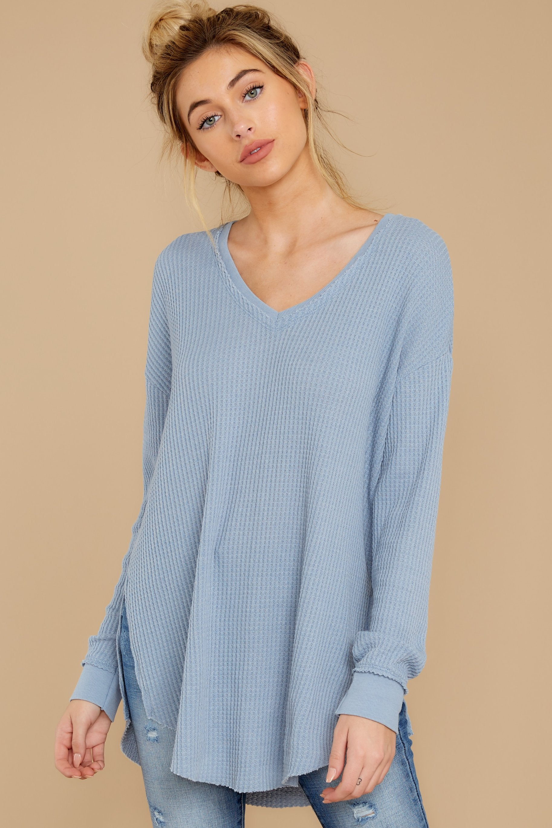 5 The Ashley Blue Waffle Thermal Tunic Top at reddressboutique.com