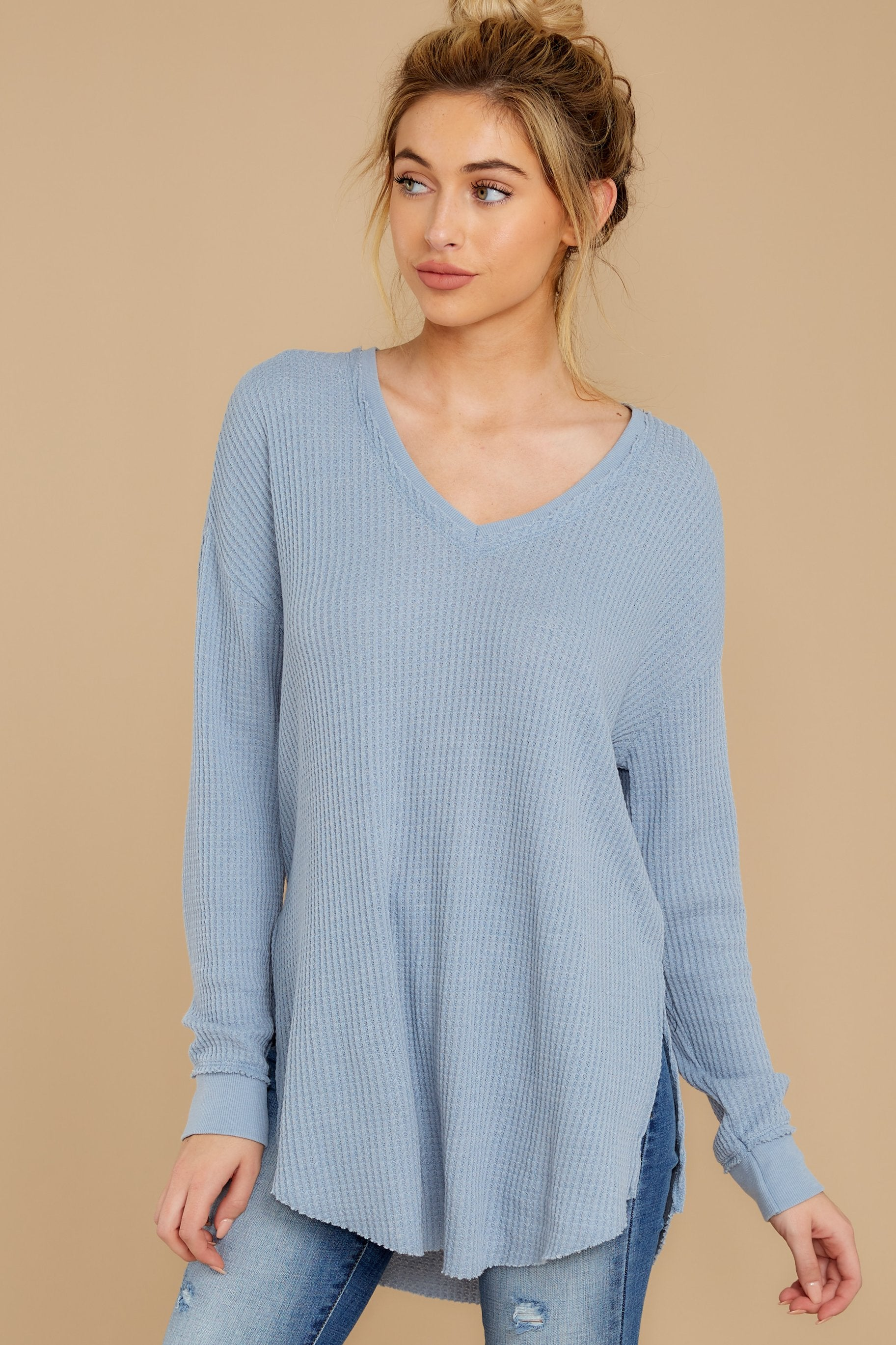 6 The Ashley Blue Waffle Thermal Tunic Top at reddressboutique.com
