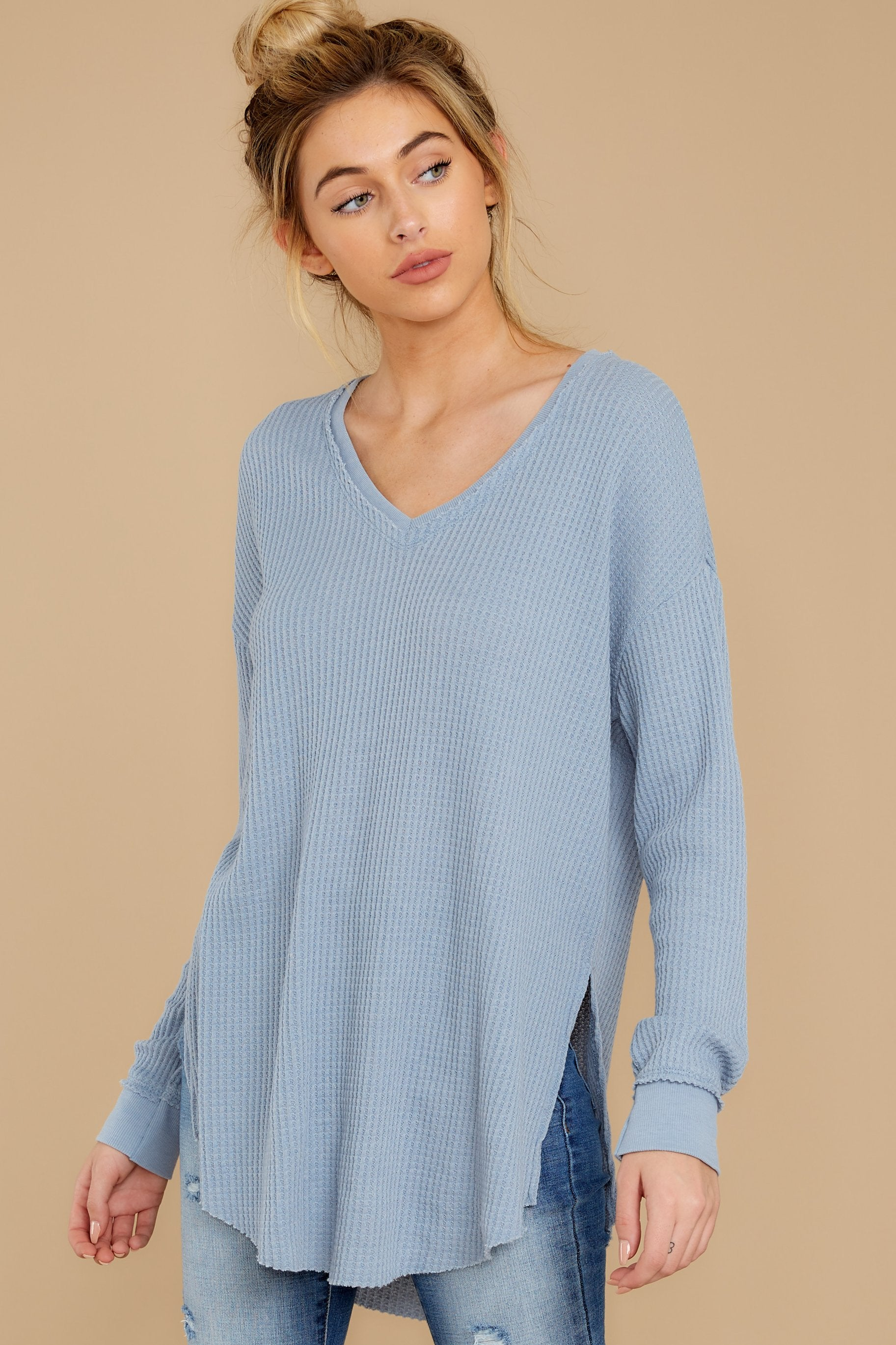 7 The Ashley Blue Waffle Thermal Tunic Top at reddressboutique.com