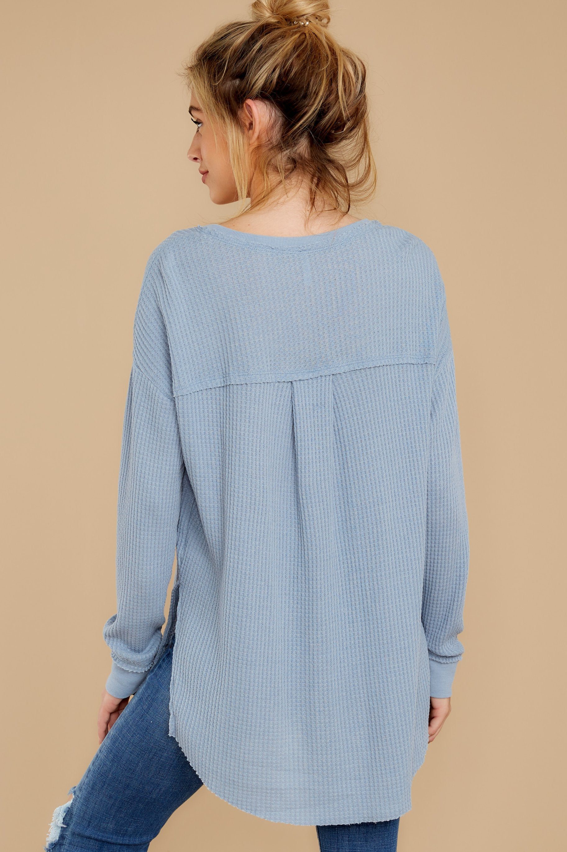 8 The Ashley Blue Waffle Thermal Tunic Top at reddressboutique.com