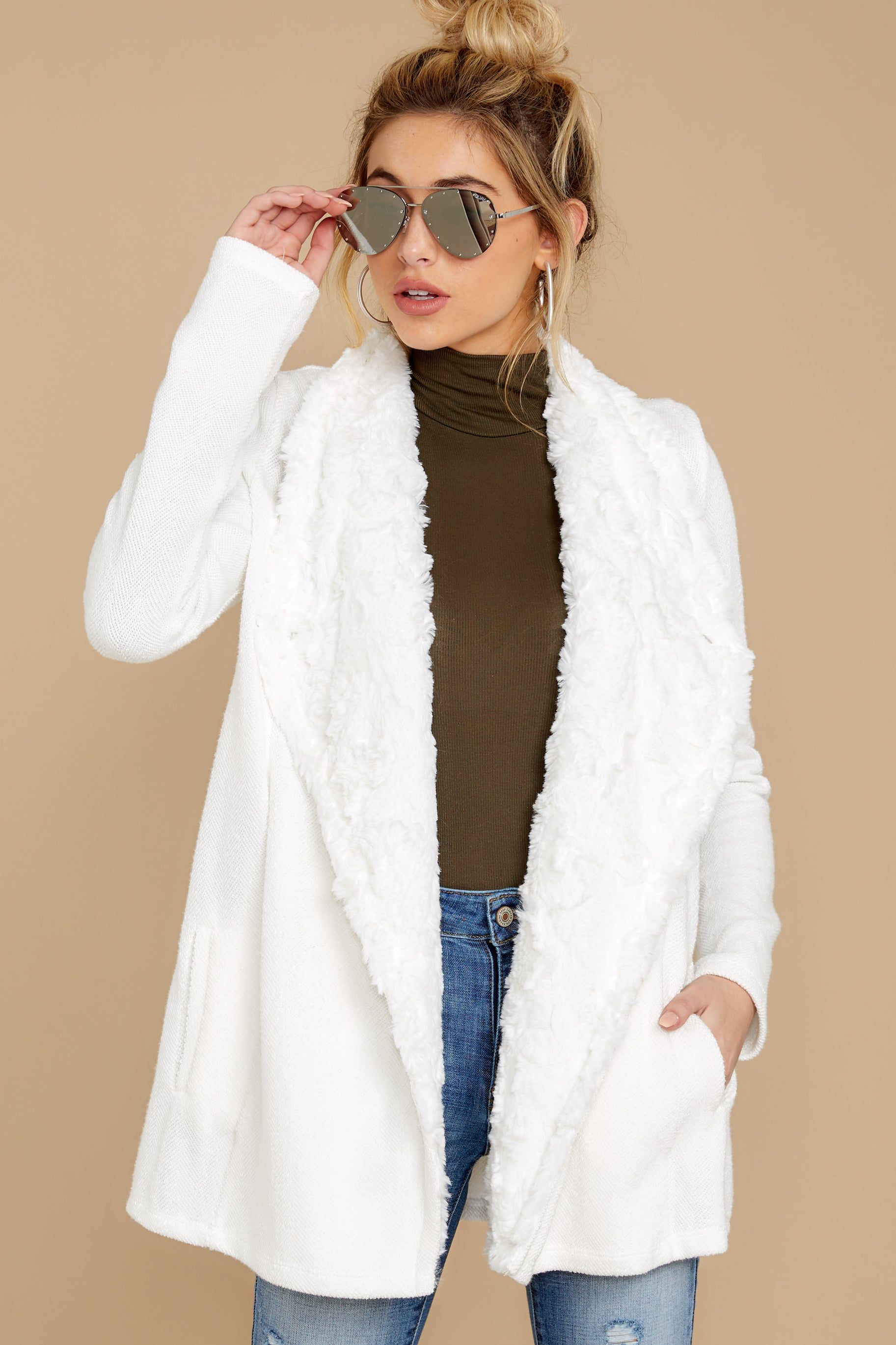 Mixed Emotions White Drape Front Jacket