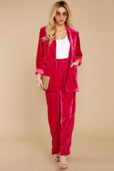 8 One Direction Dark Pink Velour Pants at reddress.com