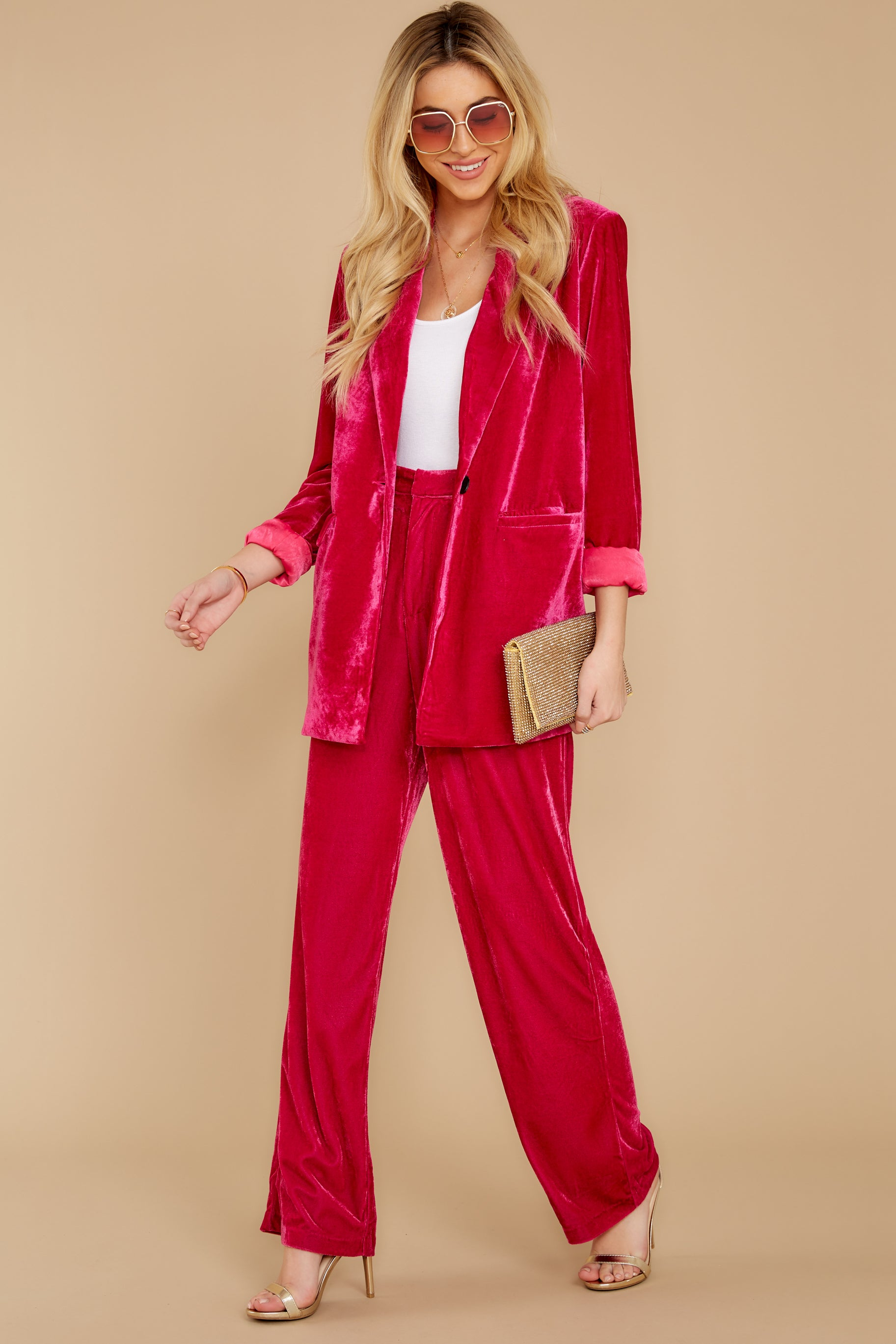 2 One Direction Dark Pink Velour Pants at reddress.com