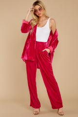 7 One Direction Dark Pink Velour Pants at reddress.com