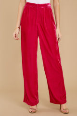3 One Direction Dark Pink Velour Pants at reddress.com