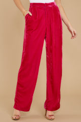 1 One Direction Dark Pink Velour Pants at reddress.com
