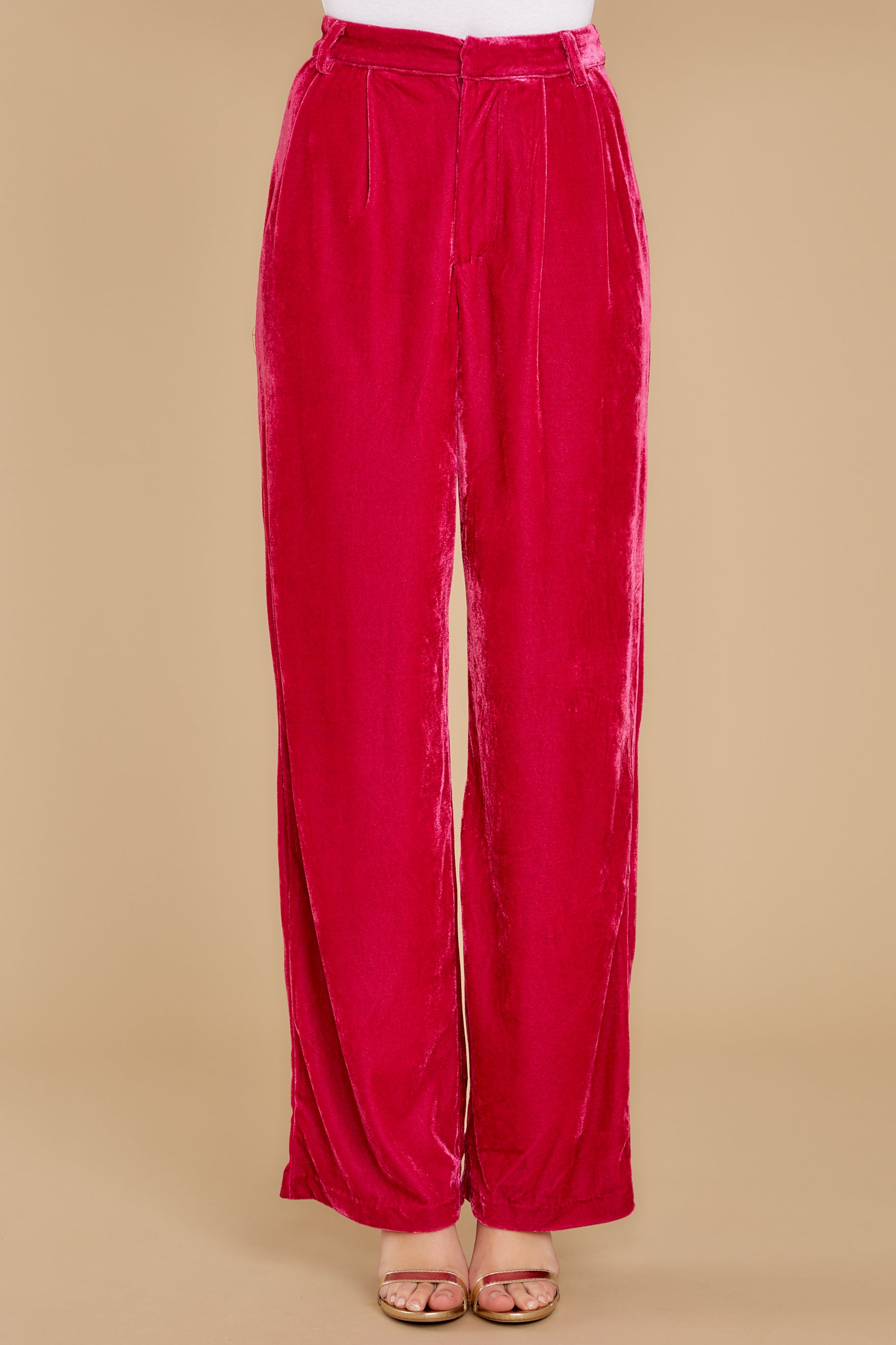 4 One Direction Dark Pink Velour Pants at reddress.com