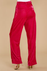5 One Direction Dark Pink Velour Pants at reddress.com