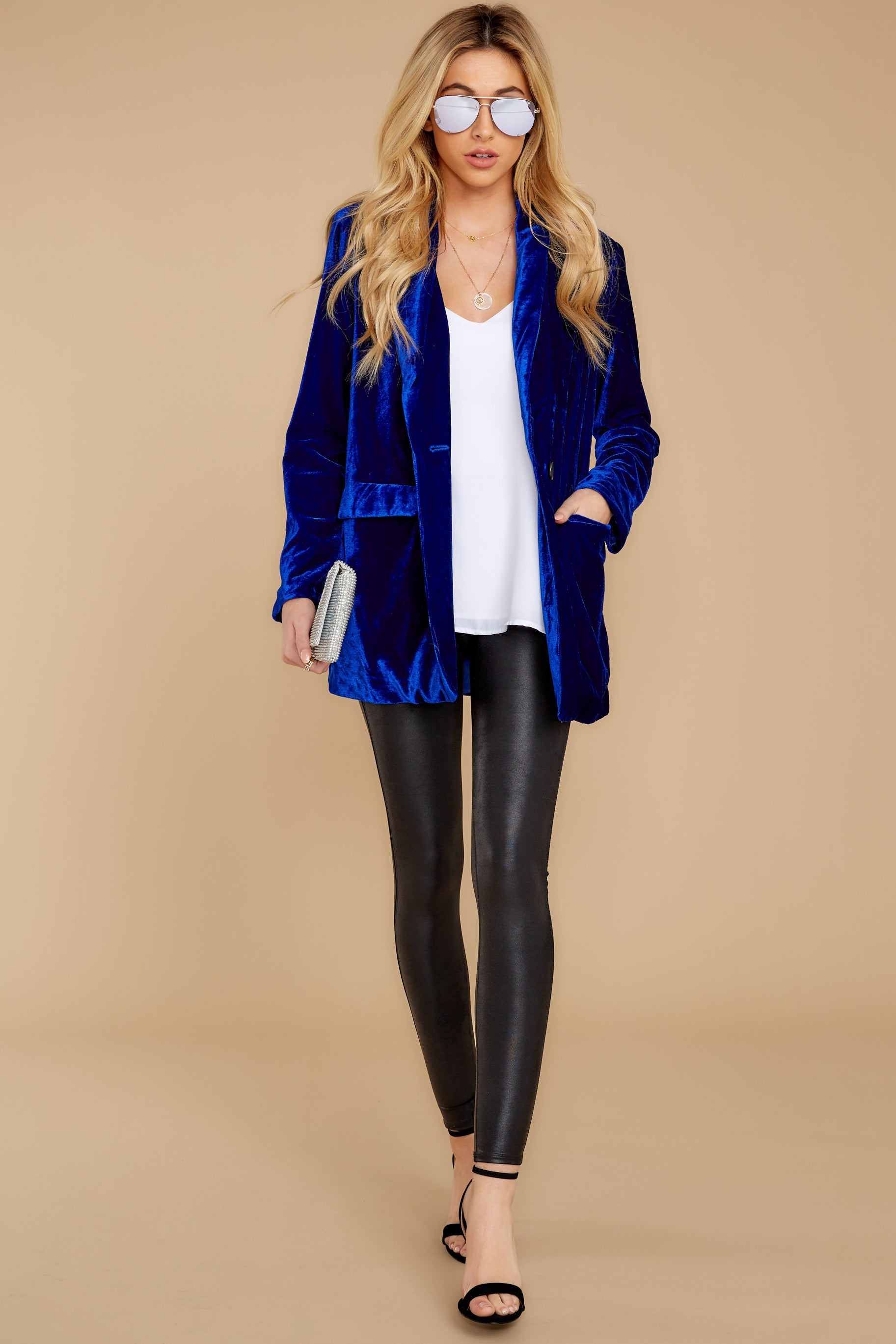 3 Now Introducing Blue Velour Blazer at reddress.com